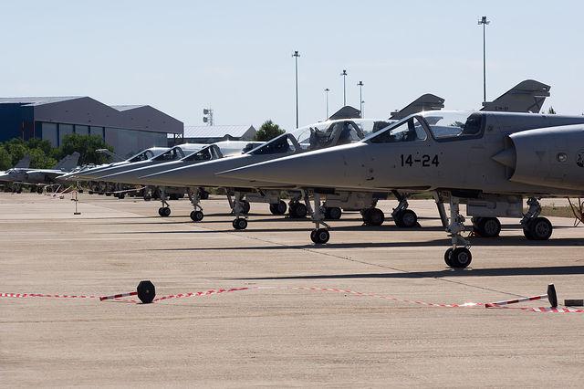 El piloto del Eurofighter accidentado no accionó el sistema de escape del avión. Imagen de archivo de un avión Eurofighter en la Maestranza Aérea de Albacete.