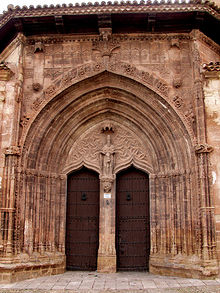 Portada de la iglesia de la Trinidad (Alcaraz), de un gótico muy avanzado.