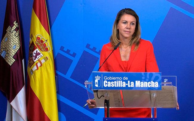 María Dolores de Cospedal durante su intervención tras el Consejo de Gobierno